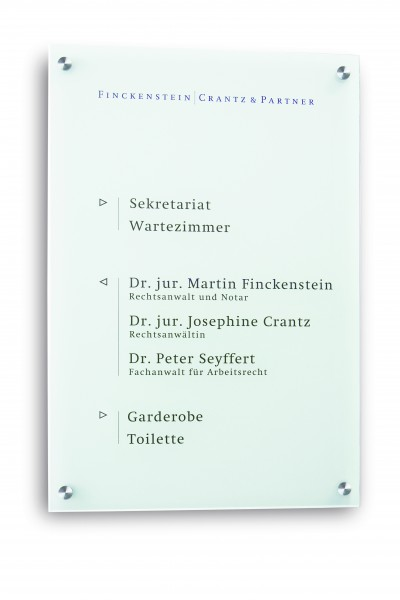 Infotafel / Wegweiser CRISTALLO satiniert