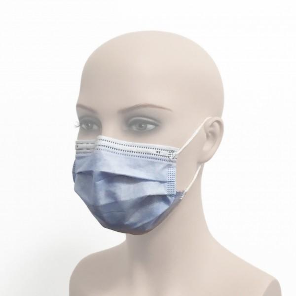 Medizinische Gesichtsmaske/OP-Maske/MNS-Maske mit Ohrschlaufen Einmalverwendung blau Frau Seite Corona Virus Krise