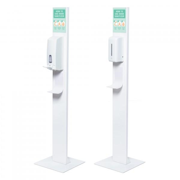 h&h Hygienestation/Desinfektionsständer Boden Metall V Seite mit Spender manuell + automatisch U-Tasche A5 Corona Virus Krise