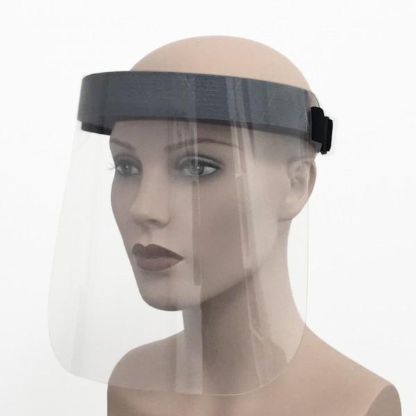 Gesichtsvisier mit Stirnband wiederverwendbar II Frau Seite Corona Virus Krise