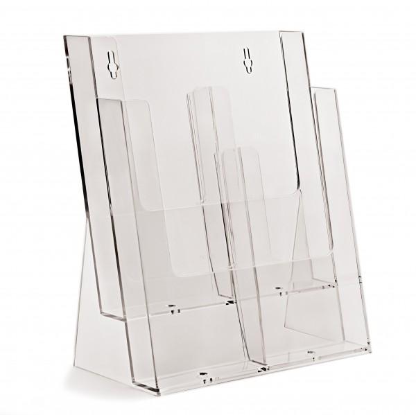Prospekthalter Theke / Tisch 2fach hintereinander