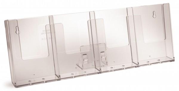 Prospekthalter Theke / Tisch 4fach nebeneinander mit Fuß