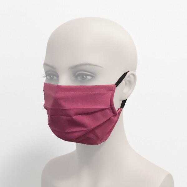 Behelfsmundschutz mit Ohrschlaufen wiederverwendbar brombeer Frau Seite Corona Virus Krise