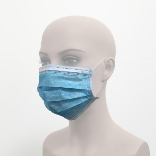 Behelfsmundschutz mit Ohrschlaufen Einmalverwendung blau Frau Seite Corona Virus Krise