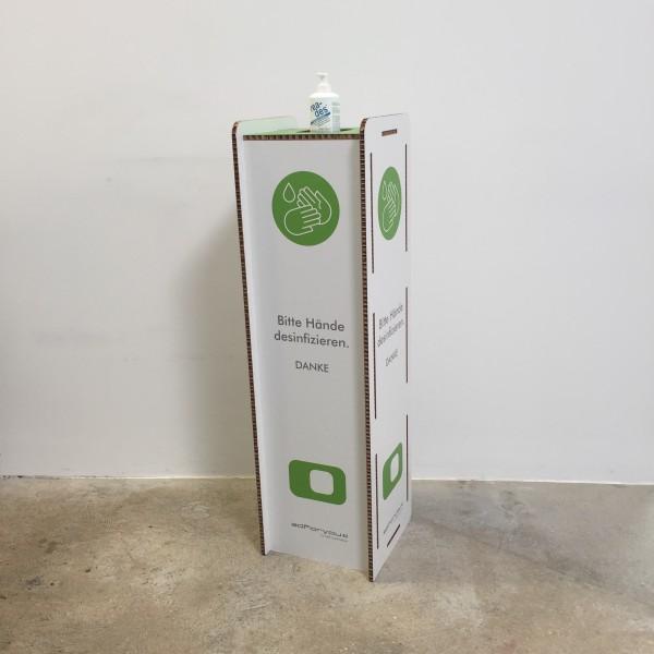 h&h Hygienestation/Desinfektionsständer Boden Karton vorne mit Flasche 300 ml Corona Virus Krise