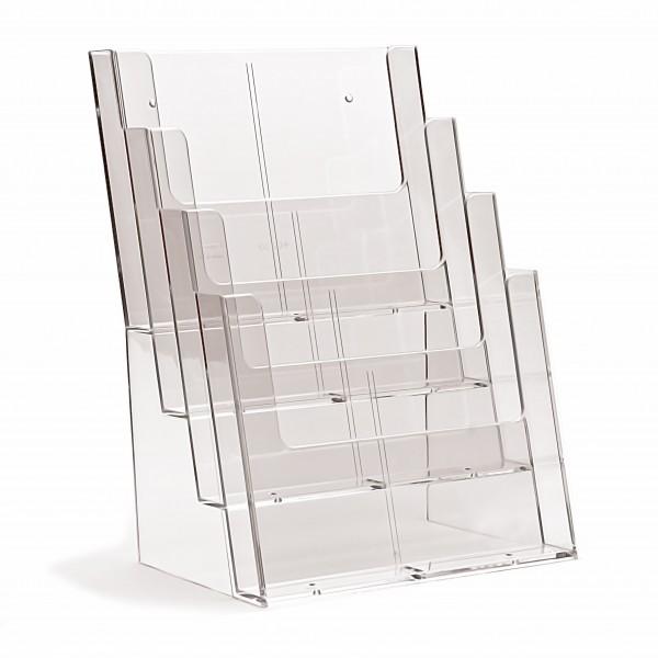 Prospekthalter Theke / Tisch 4fach hintereinander