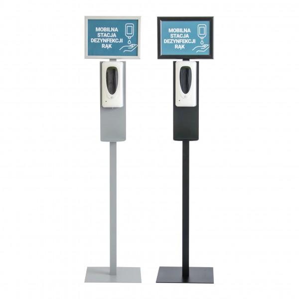 h&h Hygienestation/Desinfektionsständer Boden Metall IV vorne mit Spender automatisch Rahmen A4 Gehrung silber + schwarz Corona Virus Krise