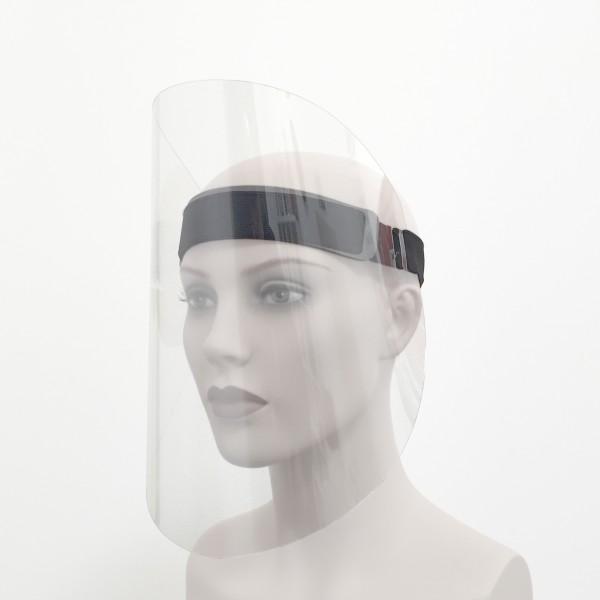Gesichtsvisier mit Stirnband wiederverwendbar Frau Seite Corona Virus Krise