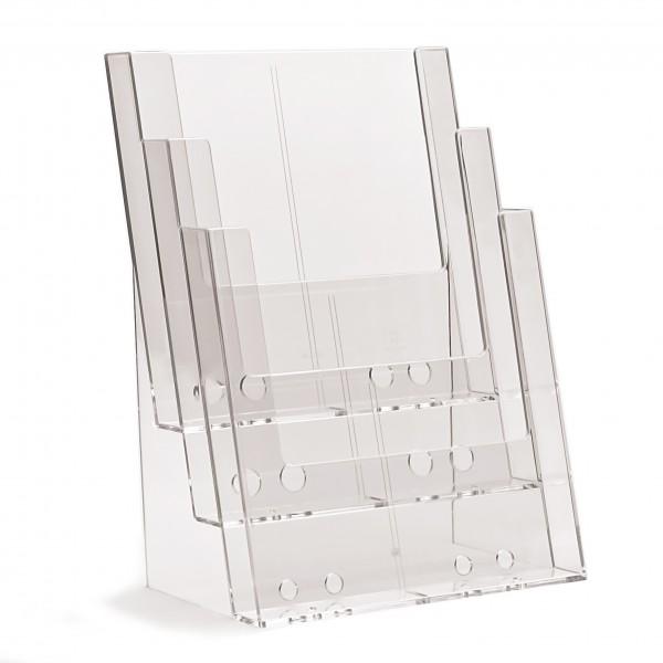 Prospekthalter Theke / Tisch 3fach hintereinander