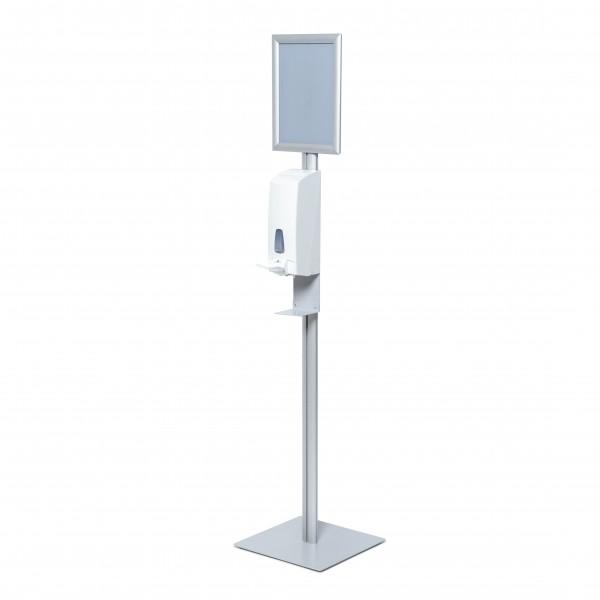 h&h Hygienestation/Desinfektionsständer Boden Metall III Seite mit Spender manuell Rahmen A4 Gehrung Corona Virus Krise